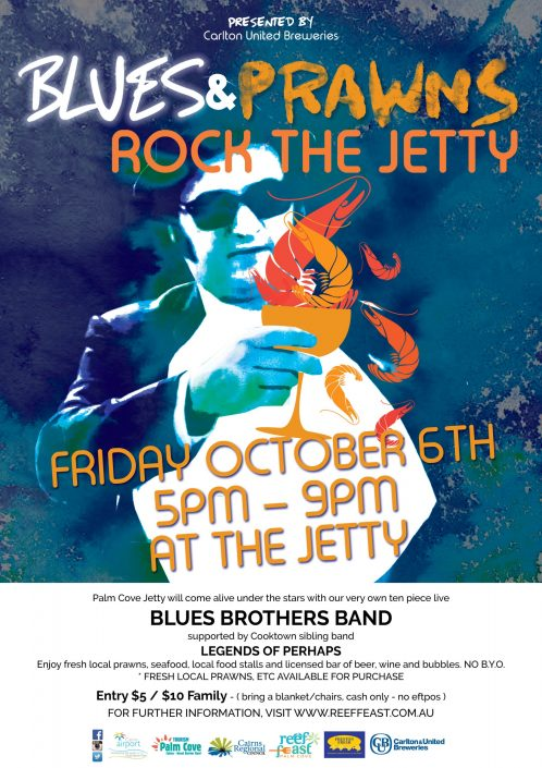 Blues and Prawns on the jetty